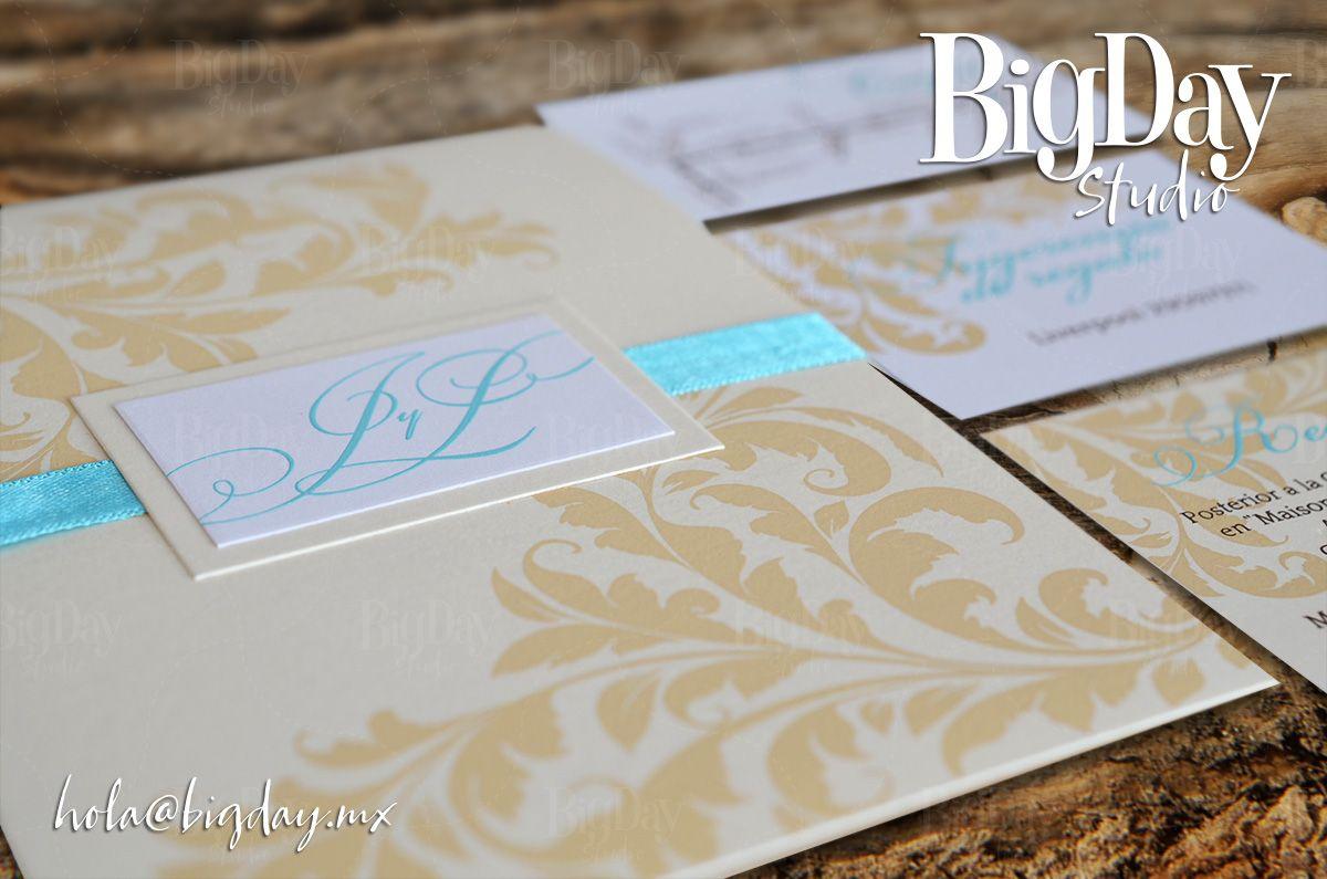 Set de invitación y tickets tono turquesa y beige boda vintage