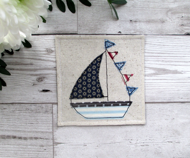 Fabric Nautical Coaster Sailboat Coaster Beach House Decor Sailing Gift For Him Small Gift Ideas Coastal Decor Small Gifts Diy Gifts For Boyfriend Trendy Gift Idea