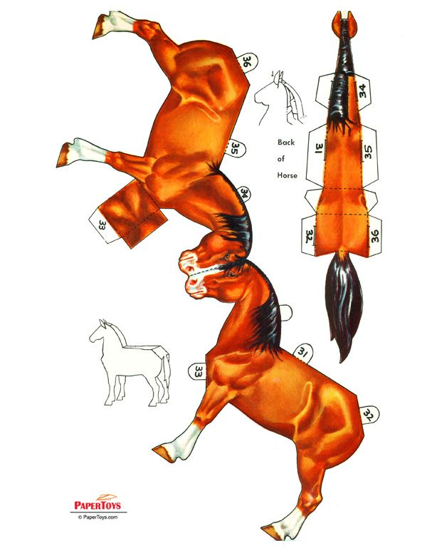 So many paper models - free to print! Horse Paper Model