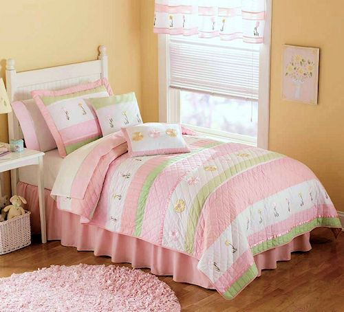 Marvelous Pastel Pink U0026 Green Bedding For Girls Twin Size 2pc Quilt Set   Kids  Bedspread Tara