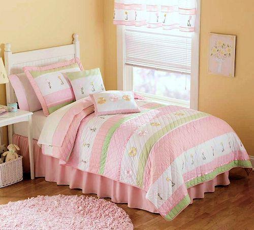 pastel pink u0026 green bedding for girls twin size 2pc quilt set kids bedspread tara