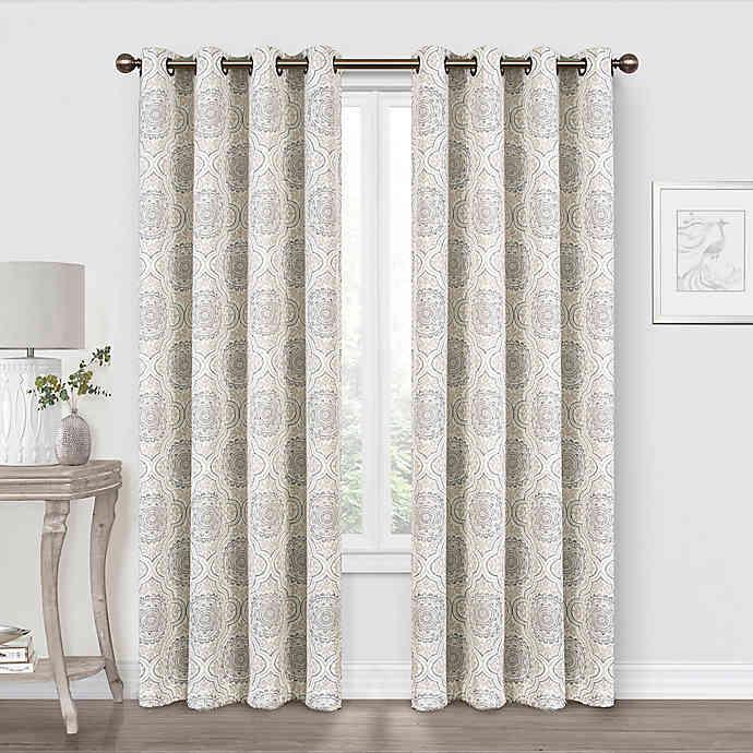 Quinn Medallion Blackout Grommet Window Curtain Panel Natural