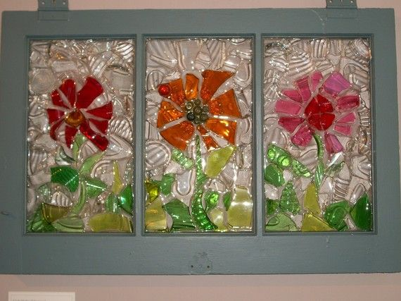 Recycled Glass Art On Window Flower Trio By Recreationsart On Etsy I Like It Glass Mosaic Art Glass Window Art Glass Art Projects