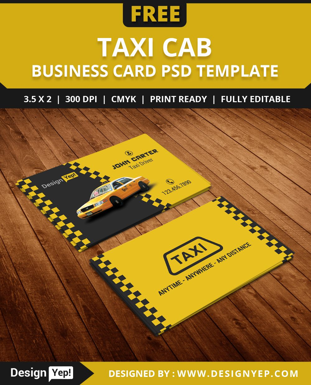 Free taxi cab business card template psd free business card free taxi cab business card template psd wajeb Image collections