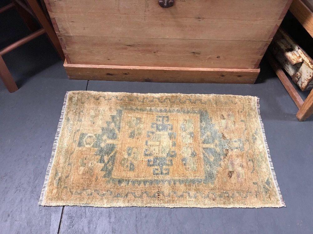 1 8 X 2 8 Powder Room Rug Turkish Vtg Mat Yastik Small Rug Gold