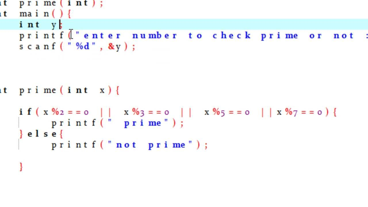 Program To Check Prime Number Using Function In C
