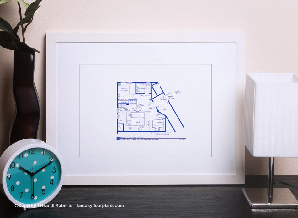 Seinfeld apartment layout tv show floor plan blueprint poster seinfeld apartment layout tv show floor plan blueprint poster art for sitcom apartment of malvernweather Image collections