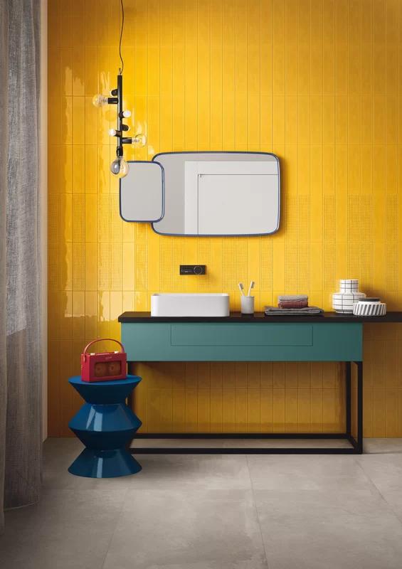 Travis Tile Sales Slash Decor 3 X 12 Ceramic Subway Tile In 2020 Yellow Bathroom Tiles Tiles For Sale Yellow Tile