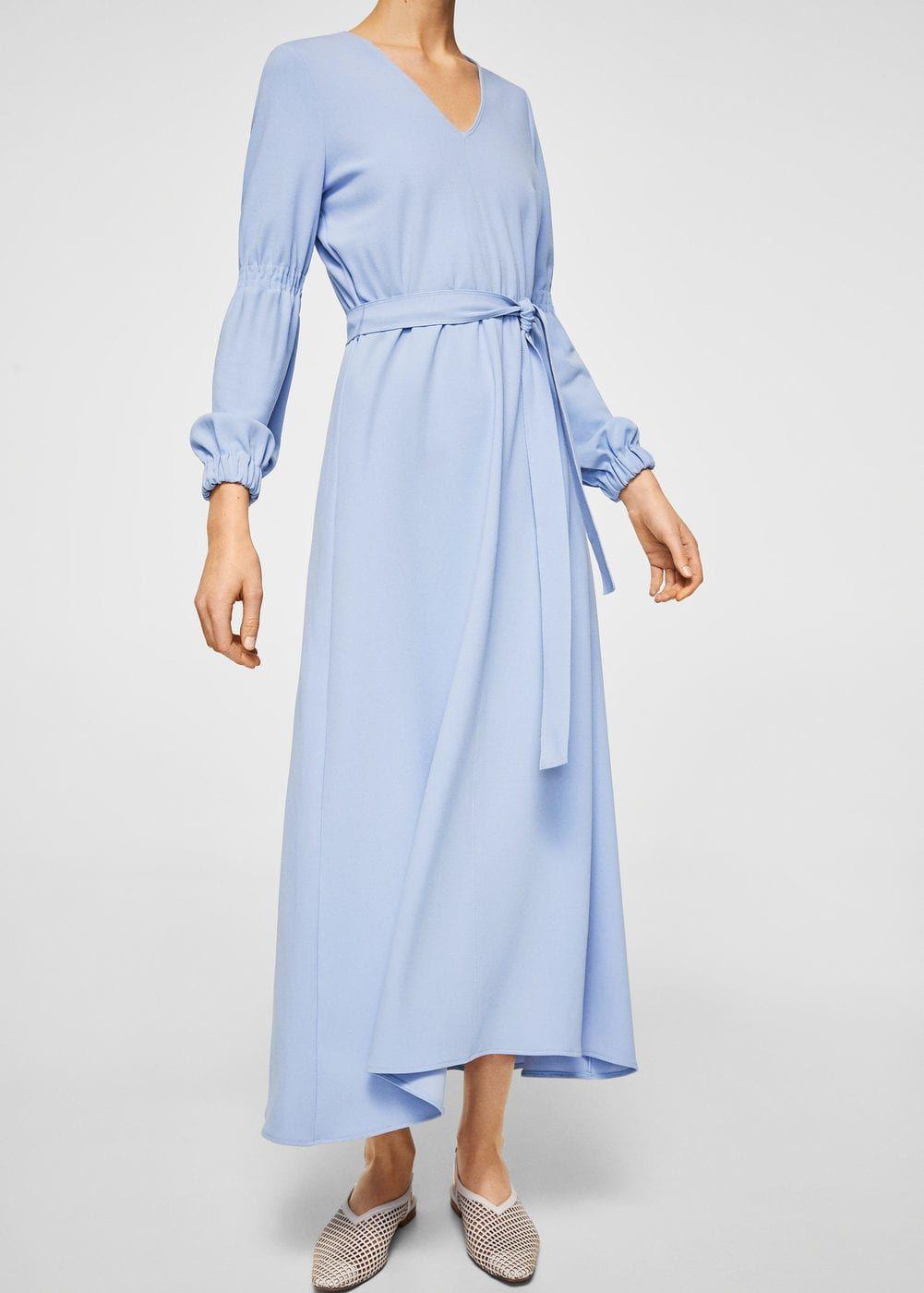 Kleid mit schleifengürtel - f füLange kleider Damen ...