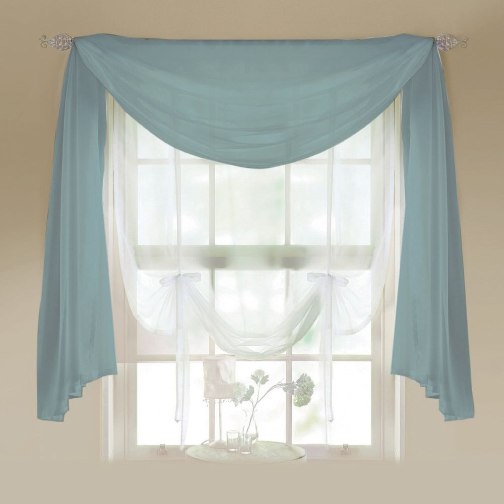 Voile Scarves Aqua Net Curtains & Scarf Voile Valance Swag ...