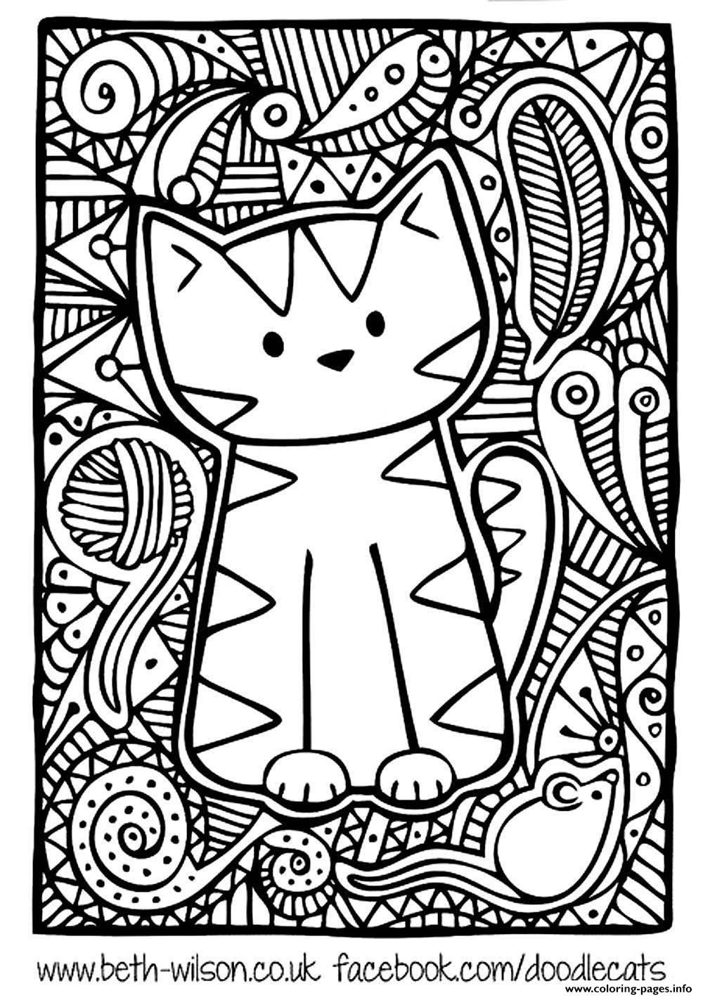 Coloring pages for adults cute - Print Adult Difficult Cute Cat Coloring Pages