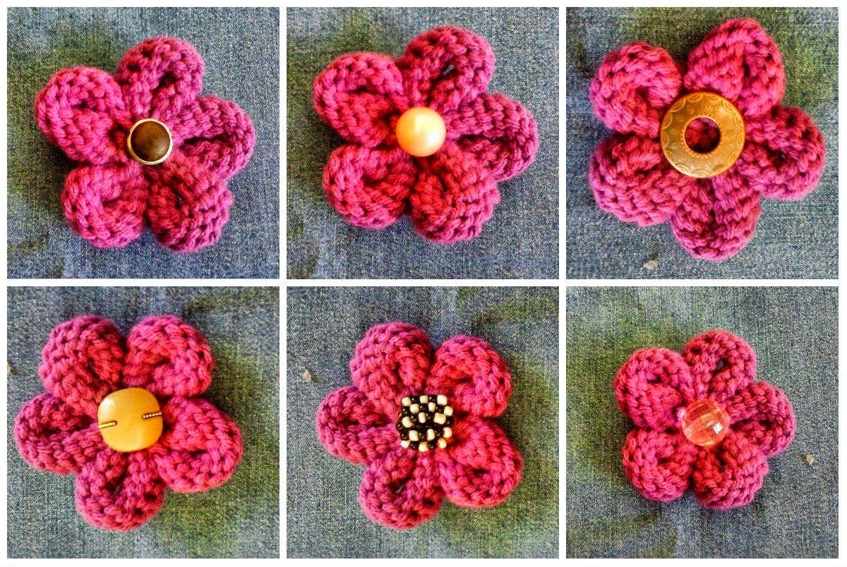 Crochet y dos agujas flor tejida con punto jersey a dos - Tejidos en dos agujas paso a paso ...