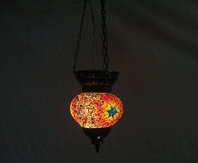 Multi-Color mosaic hanging lamp Turkish lantern candle holder light 134