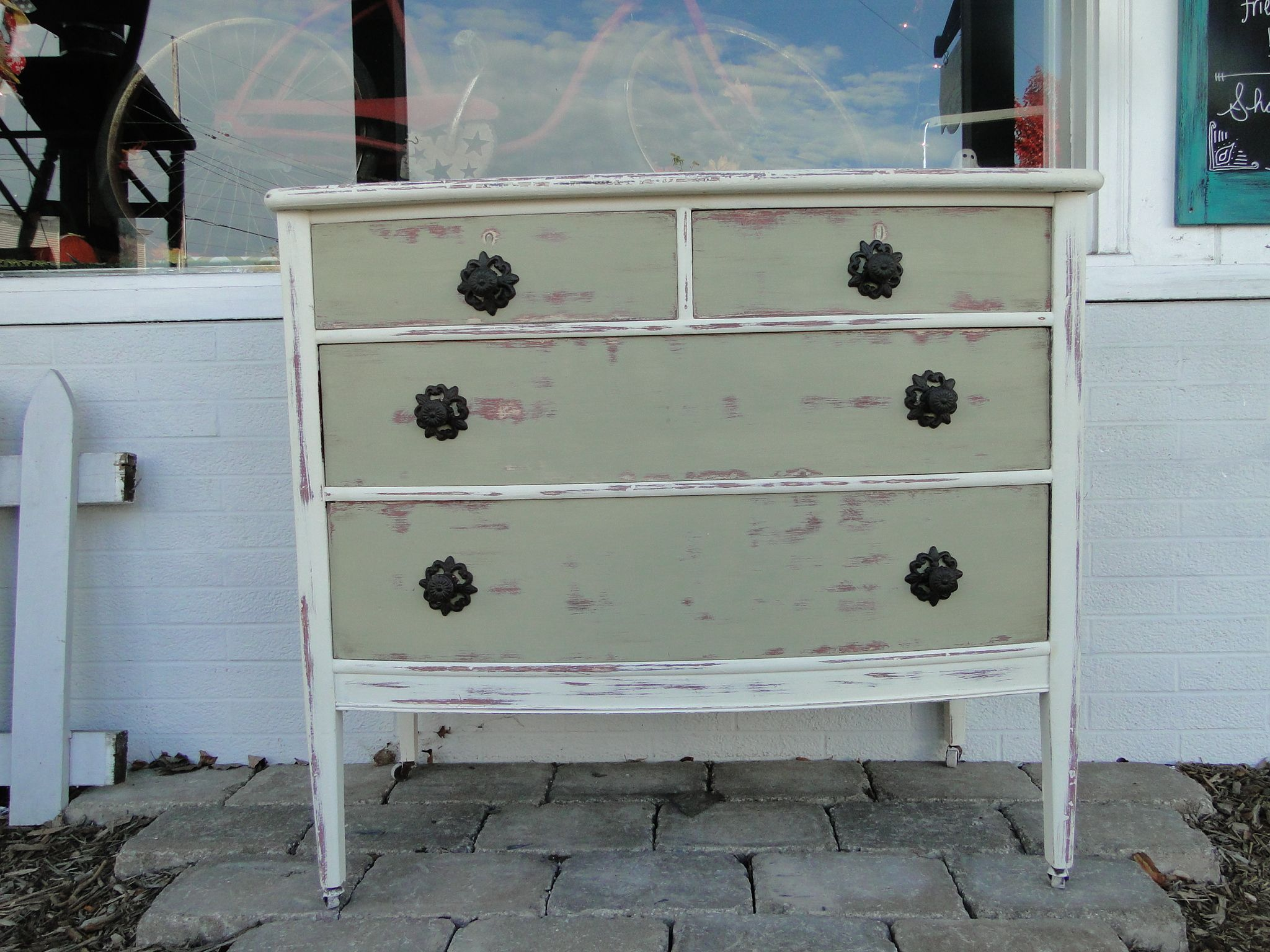 This Dresser Was Repainted In Old White And A Sage Green Then