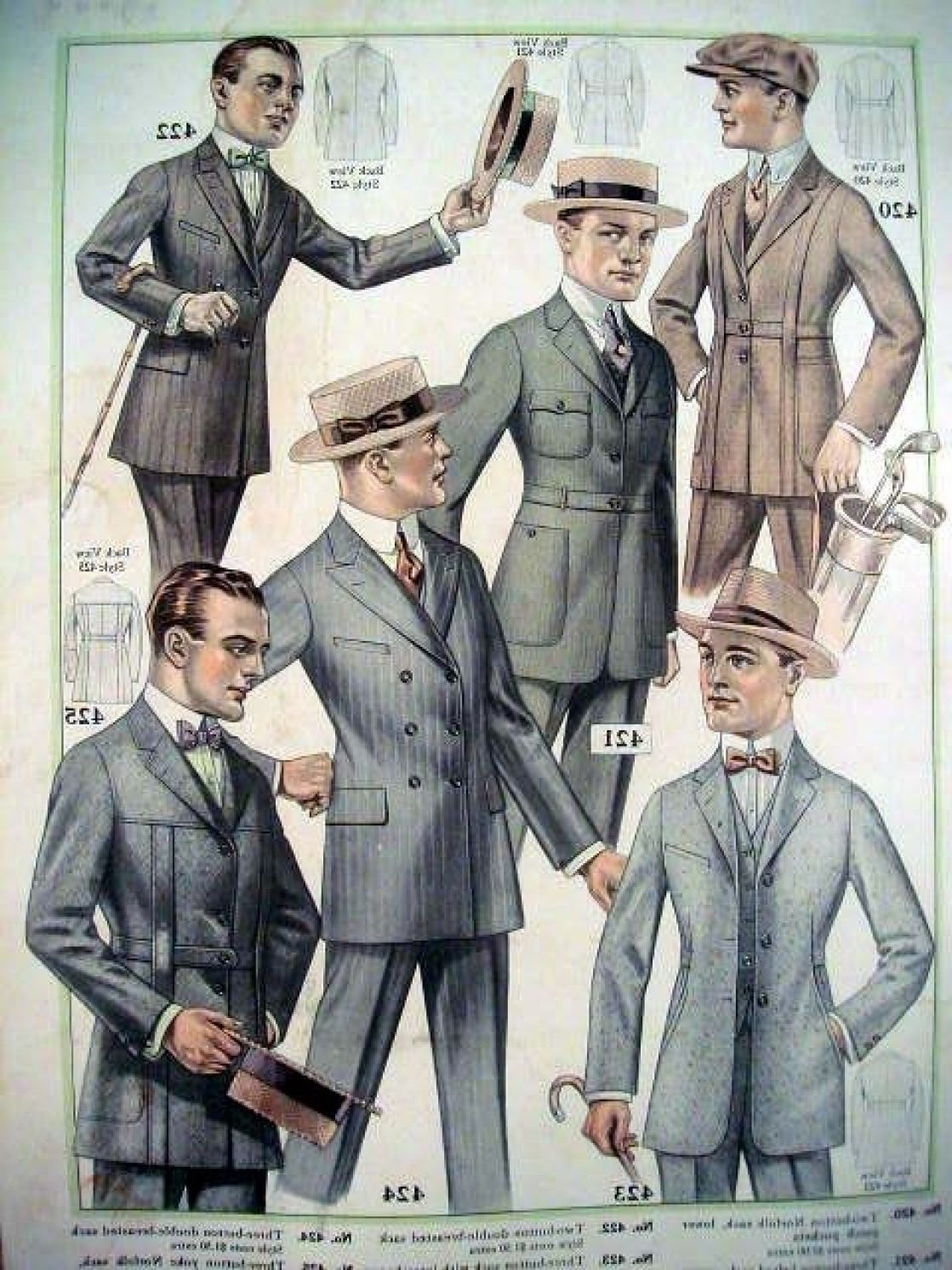 men39s twenties fashion suits with bow ties and hats 1920s menh