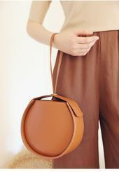 Round Leather Purse Small Round Bag Circle Clutch Bag  Leahter Beige Circle Bag ...#bag #beige #circle #clutch #leahter #leather #purse #small