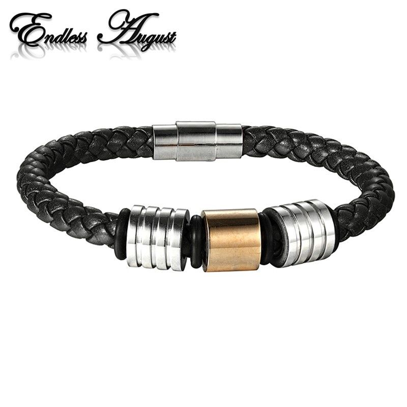 Endless August 2017 Wholesale Genuine Leather Men Bracelets Stainless Steel Magnet Clasps Wristband Charm Jewelry Gifts