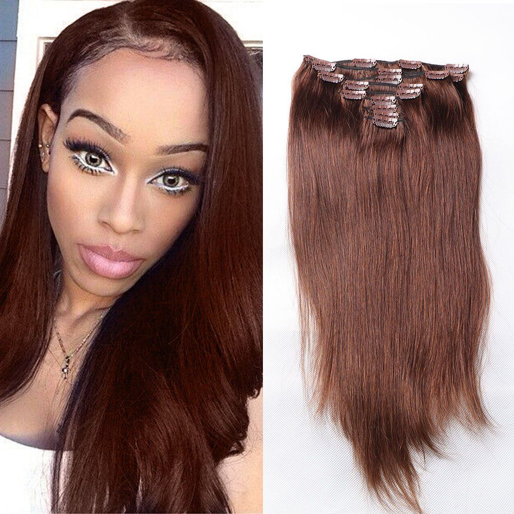24inch Straight Full Head Clip In Deal Human Hair Straight Hair