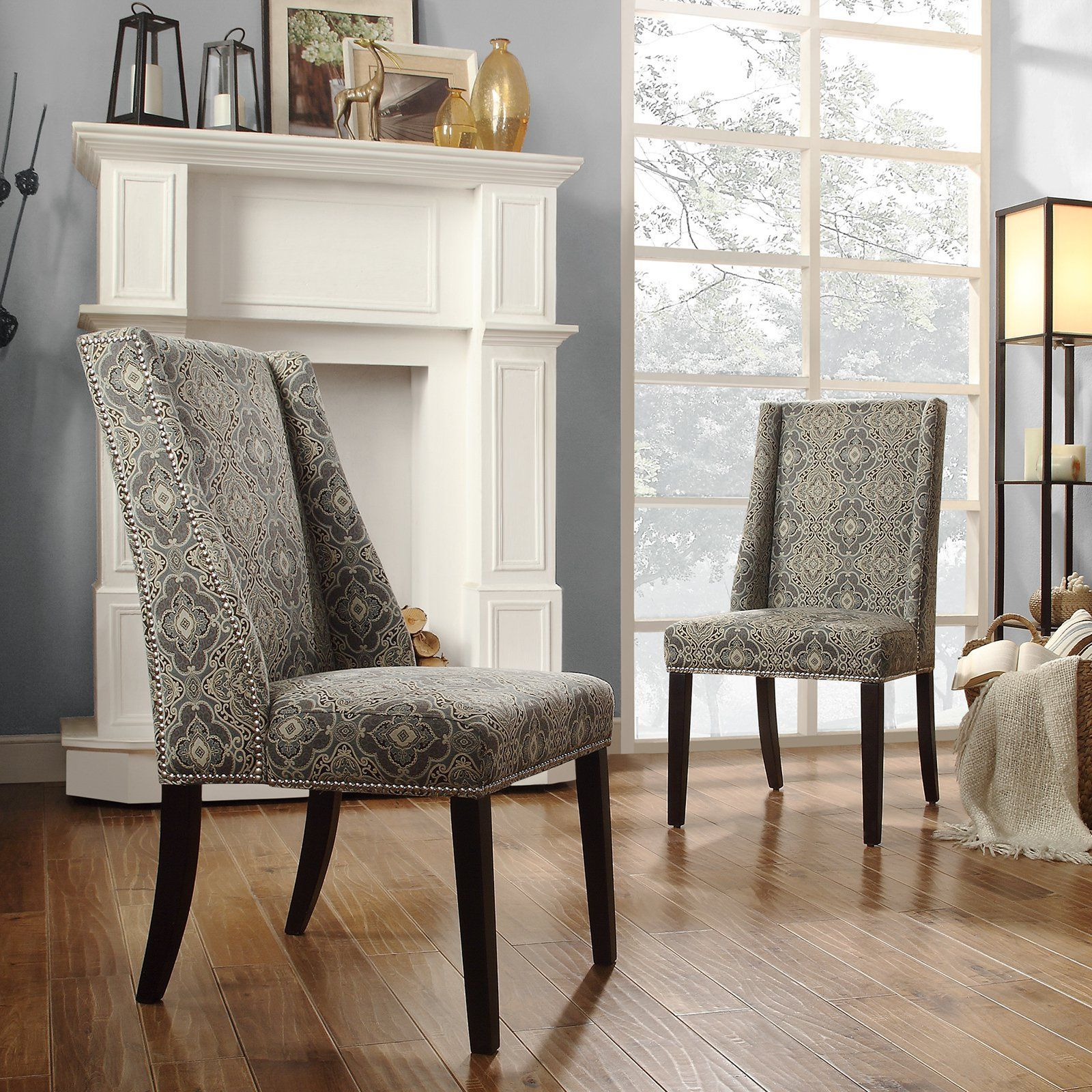 Best Chelsea Lane Blue Print Fabric Wingback With Nailhead 400 x 300