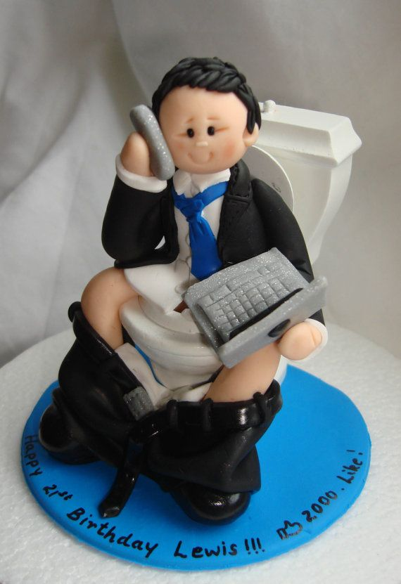 Internet Addict Funny Birthday Cake Topper Man Boy Glued To Laptop