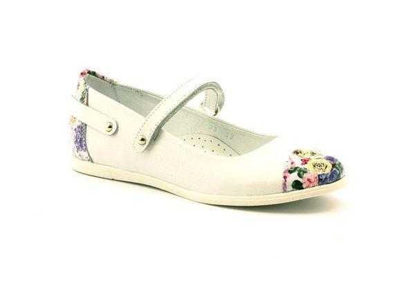 Balerinki Dziewczece Kwiatki Bartek Biale Wielokolorowe Childrens Leather Shoes Kid Shoes Ballerina Kids