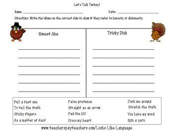 Free Sample Homework Worksheet From Idioms For Honesty