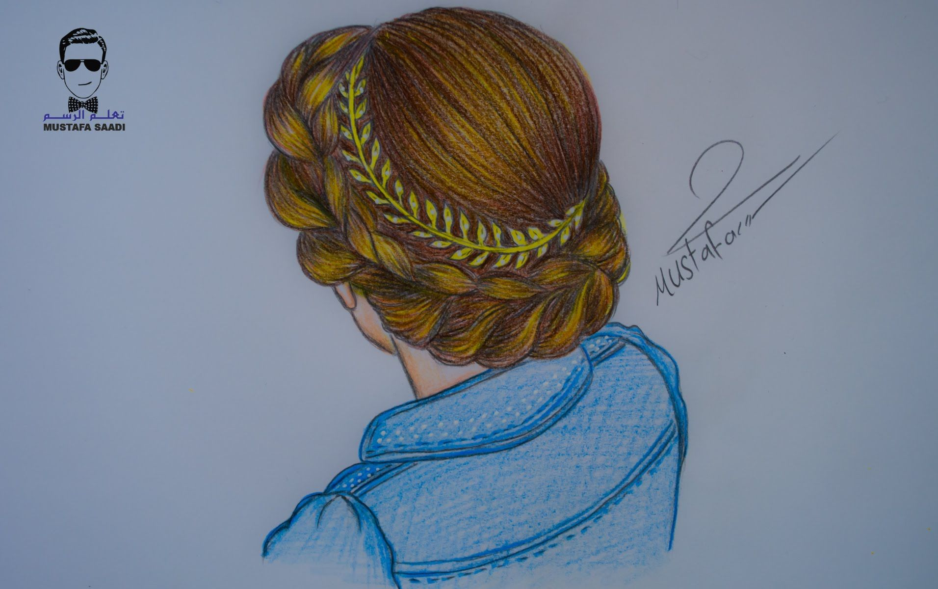 طريقة رسم الشعر مع ظفيرة مميزة بالرصاص والالوان الخشبية How To Draw Hair Colorful Drawings Drawing Illustrations