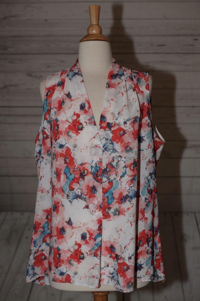 c6f17541395 Rose Olive Size XL Extra Large V Neck Sleeveless Blouse Shirt Top Tunic
