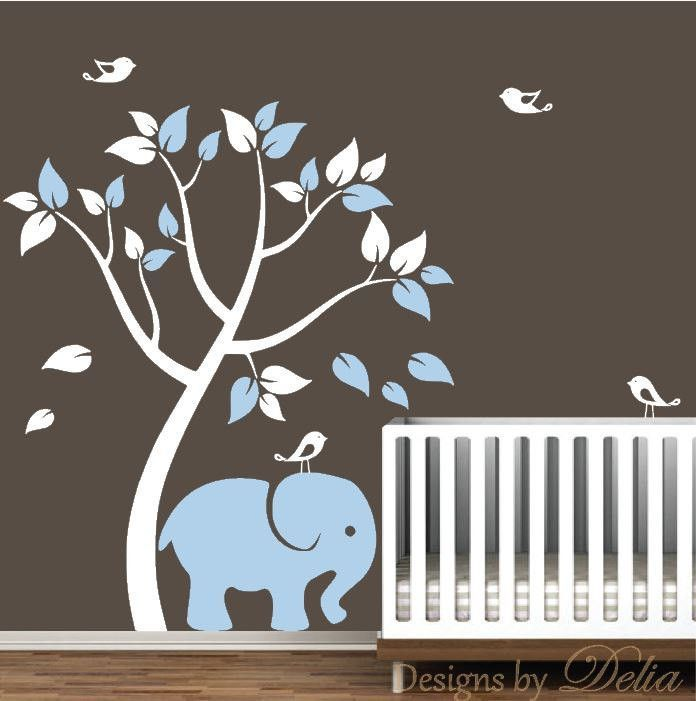 Nursery Wall Decal With Tree Elephant And Birdies Wall Decals - Nursery wall decals elephant