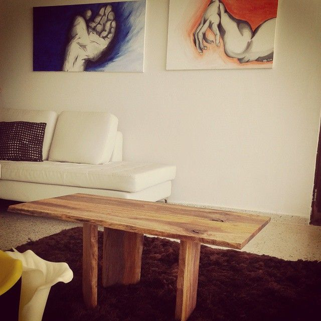 Live Edge hand made coffee table made out of Almendrillo wood borned in Puerto Rico by Harbor Trust Design