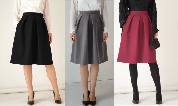 Black pleated skirt midi petrol red pockets knee length office