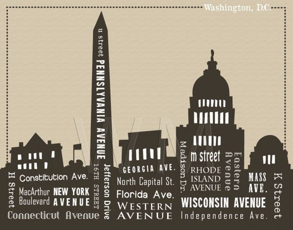 Washington Dc Wall Art 11 x 14 washington dc skyline & streets word artwordmarket