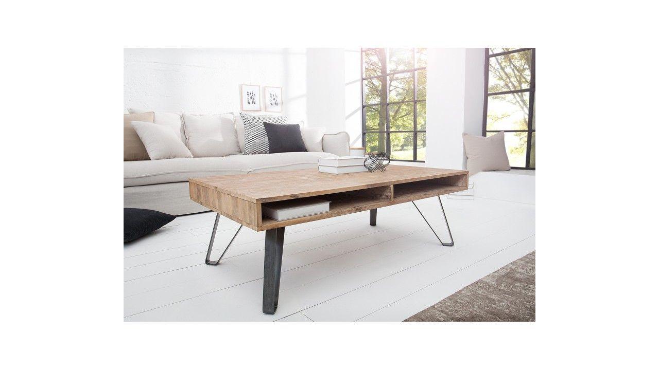 Table Basse Industrielle Loft En Bois Massif D Acacia Pieds Metal Table Basse Table Basse Design Table De Salon Design