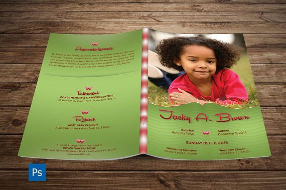 Child Funeral Program Photoshop Template Includes   Best Creative