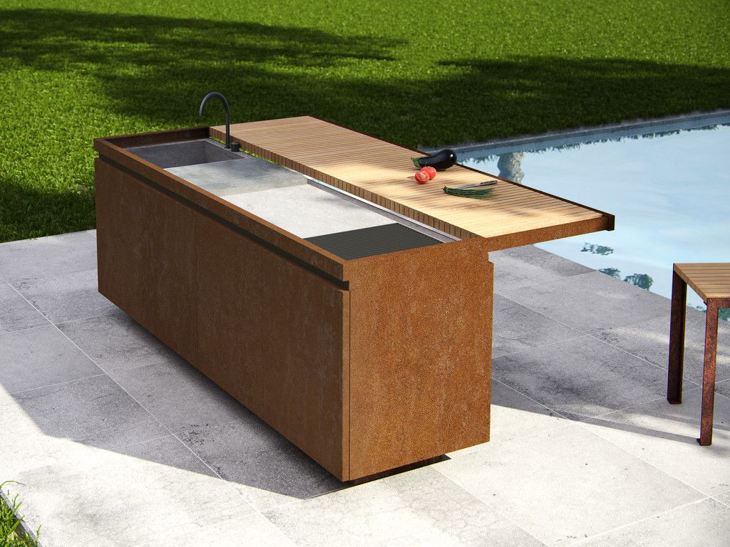 cucina esterno acciaio - Cerca con Google | outdoor kitchen ...