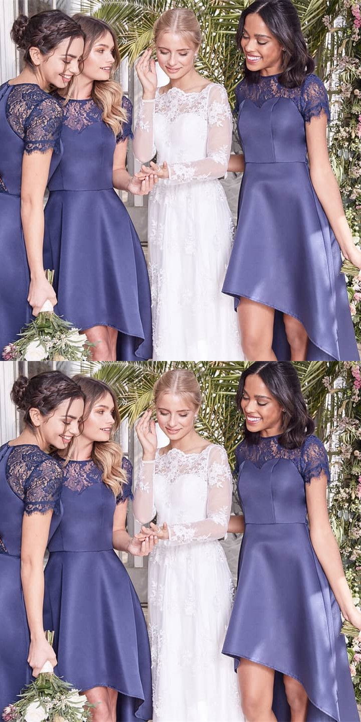 Aline jewel navy blue high low bridesmaid dress with lace prom
