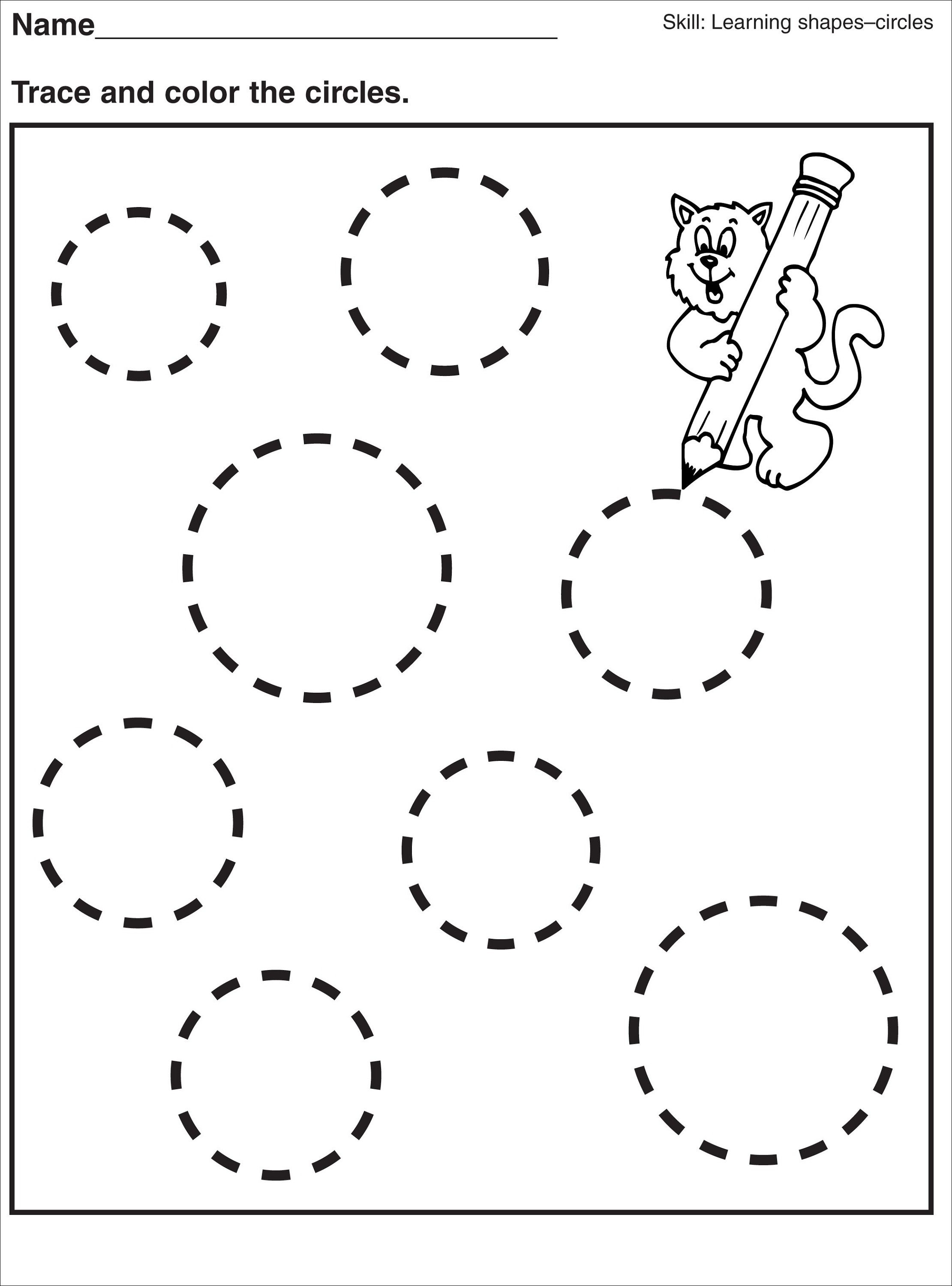 worksheet Circle Area Worksheet tracing circle worksheets for preschool activity shelter kids shelter