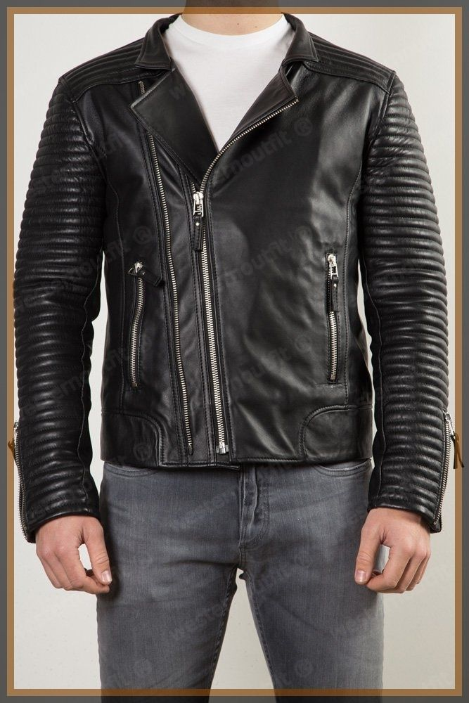 Leather Bomber Mens Motorcycle Biker Lambskin Leather Jacket Black