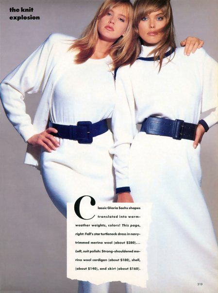 "Vogue US December 1986 ""The Knit Explosion"" Models: Ashley Richardson & Renee Simonsen Photographer: Eric Boman http://supermodelobsession.tumblr.com"