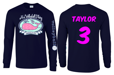 Cute volleyball whale design printed on pastel blue and pink long sleeve t-shirts. It's a volleyball thing!