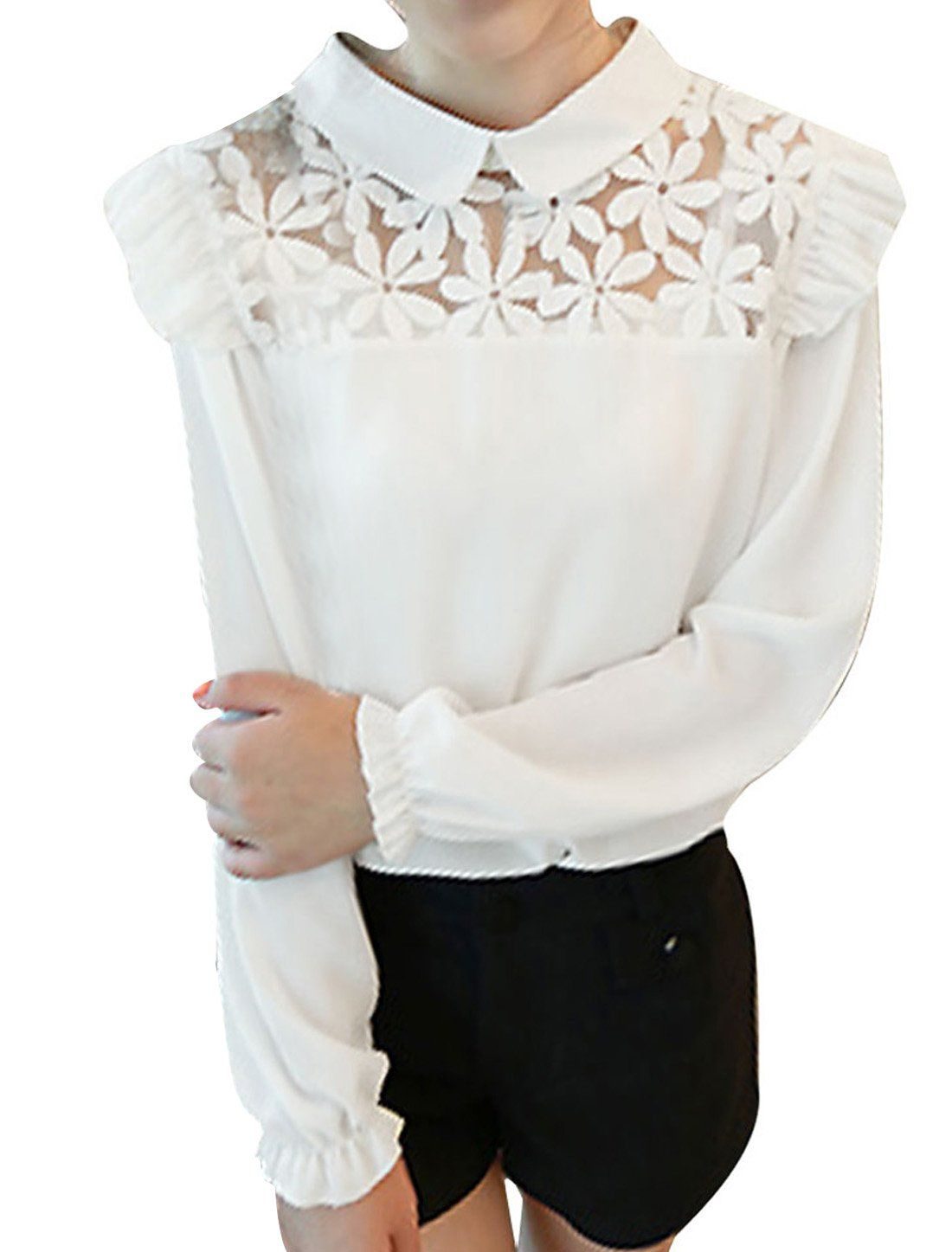 Lady peter pan collar long sleeve crochet pattern blouse white xs lady peter pan collar long sleeve crochet pattern blouse white xs bankloansurffo Image collections