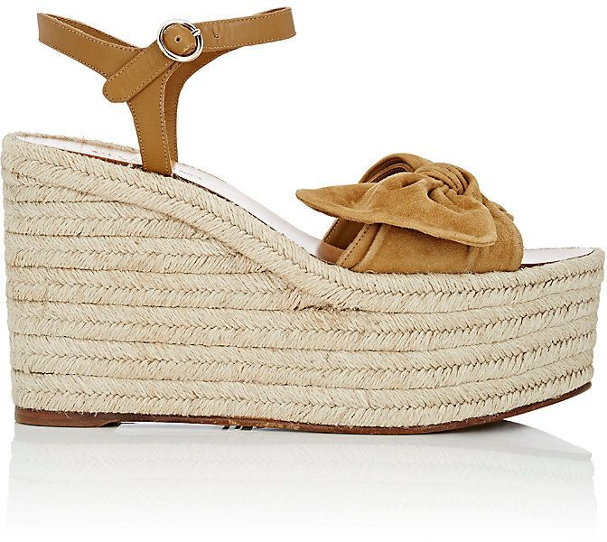 87065389ac Valentino Women's Tropical Suede & Leather Espadrille Wedge Sandals ...