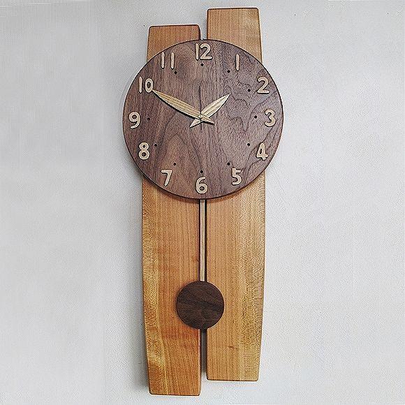 wooden clock   ★山の時計「大きな木の振り子時計フォーク」 (IS ...