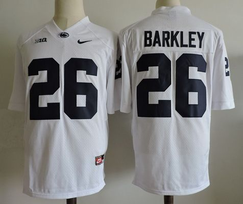 4592889e78a Men s Penn State Nittany Lions  26 Saquon Barkley White College Football  Stitched Nike NCAA Jersey