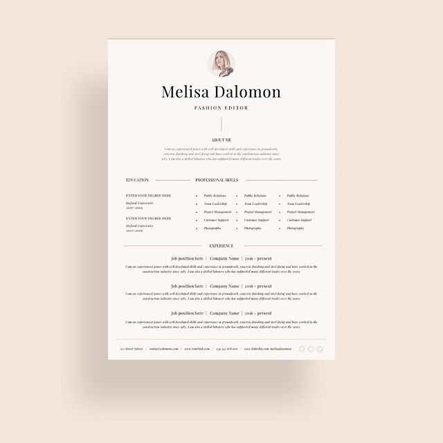 Creative and professional resume template in microsoft word Cv with