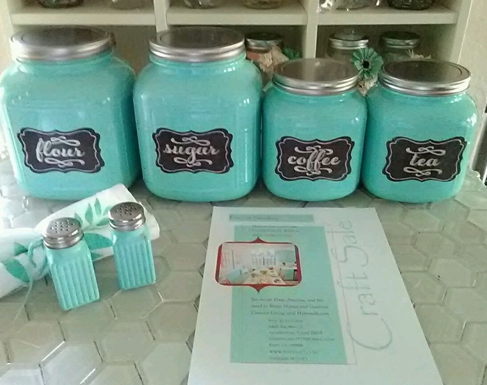 Country Farmhouse Cottage Style Cracker Jar Canister Set in Aqua or ...