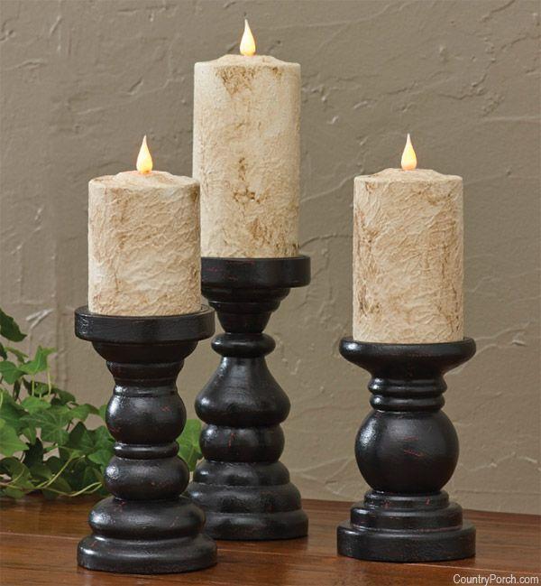 Black Southport Short Candlesticks Black Candlesticks Candle Holders Wood Pillar Candle Holders