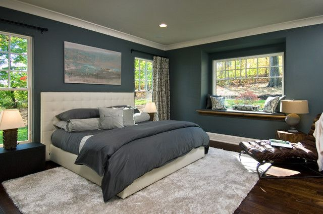 Masculine Dark Gray Color Design Idea Applied In Master Bedroom Paint Colors Finished Bedroom Paint Colors Master Bedroom Design Contemporary Lighting Bedroom