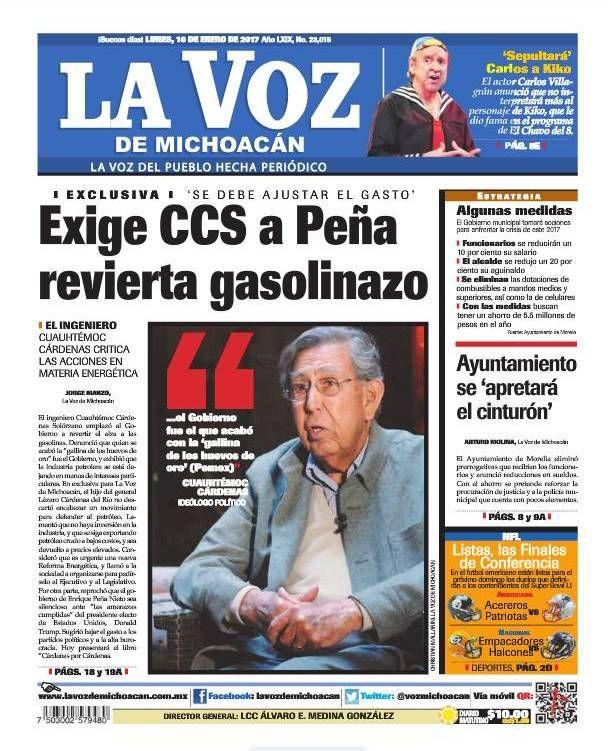¡Buenos días! Recuerda consultar nuestra edición impresa de La Voz de Michoacán de este lunes 16 de enero:  http://www.lavozdemichoacan.com.mx/