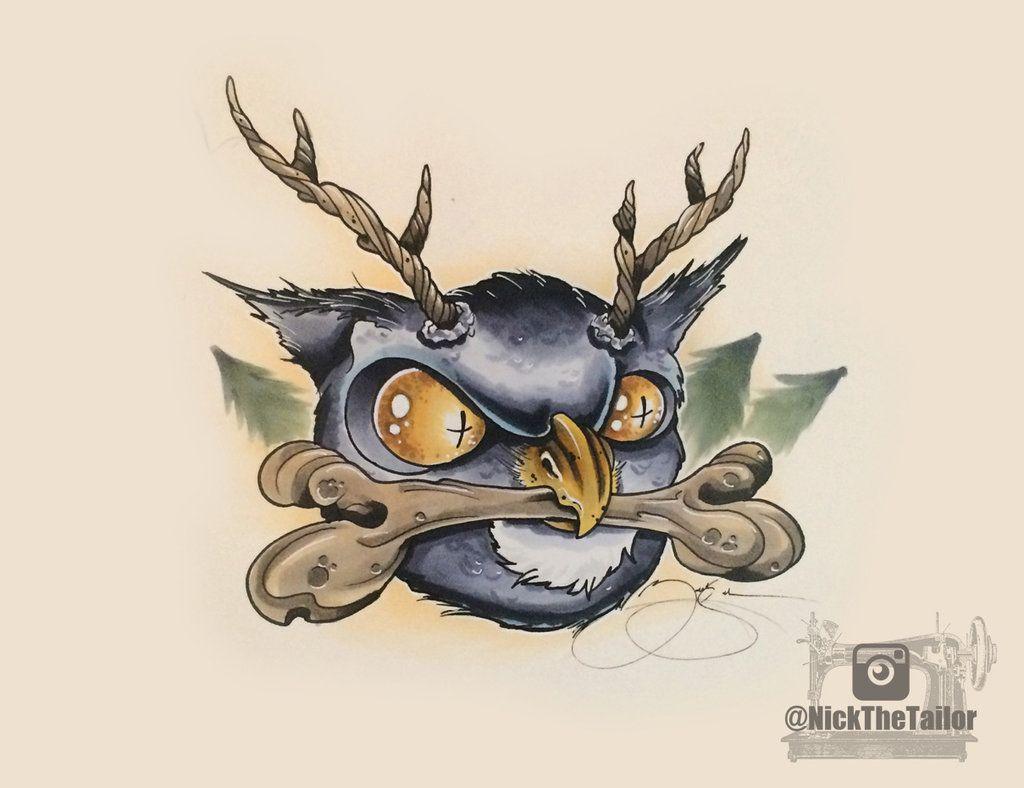 New school tattoo design - Horned Owl New School Tattoo Design By Nickthetailortattoo On